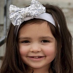 Other - Silver sequin bow on white stretch knit headband